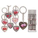 Kulcstartó szív fémből, üveg színű 8-arc
