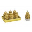 Tealight set schiaccianoci 4x5x4cm in cera oro 6e