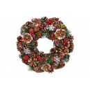 Ghirlanda natalizia in legno, plastica marrone, ro