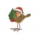 Zimowy ptaszek w czapce bożonarodzeniowej z poli,
