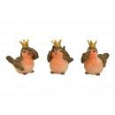groothandel Woondecoratie: Vogel met kroon van poly bruin 3- maal geassorteer