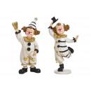 groothandel Woondecoratie: Clown gemaakt van poly wit, zwart 2- maal geassort
