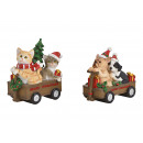 groothandel Speelgoed: Hond, kat met kerstmuts in handkar