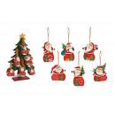 Appendino natalizio Babbo Natale in legno rosso a