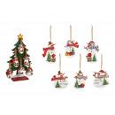 Großhandel Home & Living: Weihnachtshänger Schneemann aus Holz Weiß 6-fach (