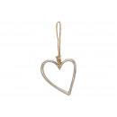 Serce z metalu srebrnego (S / W / D) 11x13x1cm