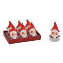 groothandel Woondecoratie: Theelichtset Gnome 4x6x4cm gemaakt van wax Rood se