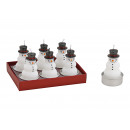 Tealight set pupazzo di neve 4x6x4cm in cera bianc