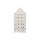 Adventskalender Haus aus Textil Weiß (B/H) 48x96cm