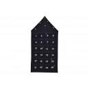 Adventskalender Haus aus Textil Schwarz (B/H) 48x9