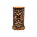 Lanterna su base in legno, decoro floreale in meta
