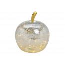 Apple con 40 LED, con timer, in vetro argento (B /