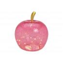 grossiste Installation electrique: Apple avec 40 LED, avec minuterie, en verre rose /