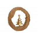 Display Choinka wykonana z metalu w kręgu z drewna