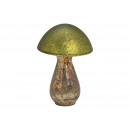 Mushroom made of glass green (W / H / D) 14x21x14c