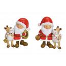 groothandel Home & Living: Kerstman met eland gemaakt van poly rood 2- maal g
