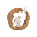 Display Aniołek z metalu w kółko z drewna mango Bi