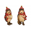 Hedgehog with Christmas hat made of poly brown 2-f