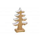 Choinka ze śniegiem wykonana z drewna brązowego (s