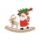 Espositore Altalena in legno Babbo Natale colorato