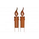Großhandel Garten & Baumarkt: Stecker Kerze, rostig Finish, aus Metall Braun 2-f