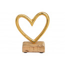 wholesale Decoration: Display Heart on a mango wood base made of metal G
