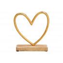 grossiste Décoration: Presentoir Coeur sur une base de mangwood en métal