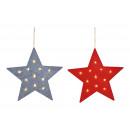 Estrella colgante con 12 luces LED de fieltro gris