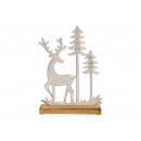 Display Jeleń z drzewem, na podstawie z drewna man