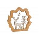 Display Jeleń z drzewem w kręgu z drewna mango, od