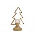 Portacandelina albero di Natale in metallo, vetro
