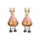 Alce in metallo / legno rosa / rosa 2- volte assor