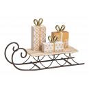 Slitta con confezione regalo in legno/metallo Gol