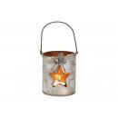 Decorazione stella lanterna in metallo / vetro arg