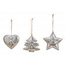 Ciondoli natalizi albero di Natale, stella, cuore