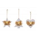 groothandel Woondecoratie: Kersthangers dennenboom, ster, houten hart