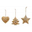 Appendino per albero di Natale, stella in metallo