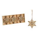 groothandel Woondecoratie: Kersthanger sneeuwvlok van metaal goud (W / H