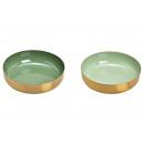 Ciotola in metallo verde, oro 2- volte assortito ,