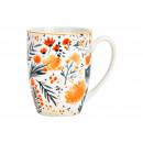 Tazza in porcellana con decoro floreale, multicolo