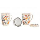 Tazza da tè con decoro floreale, con setaccio in m