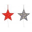 hurtownia Dekoracje: Gwiazda wieszaka z 10 diodami LED wykonana z filcu