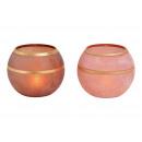 Lanterna in vetro rosa / marrone 2 volte (B / H /