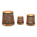Set di fasci di luce in metallo su base di legno d