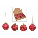 wholesale Decoration: Christmas ball glitter of glass Pink, gold 4-fold