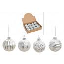 groothandel Woondecoratie: Kerstbal glitter van glas wit, zilver 4-fa