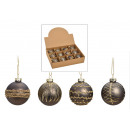 wholesale Decoration: Glass Christmas ball gray, gold 4-fold sortier