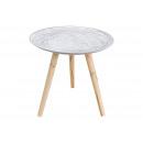 Tavolino con rivestimento in legno bianco (B / H /