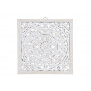 Wall hanger flower decoration in white wood (W / H