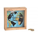 Money Box Travel Cash Box made of Wood, Glass, Bro